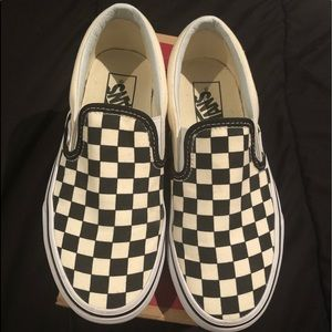 checkerboard slip on vans | size 6.5